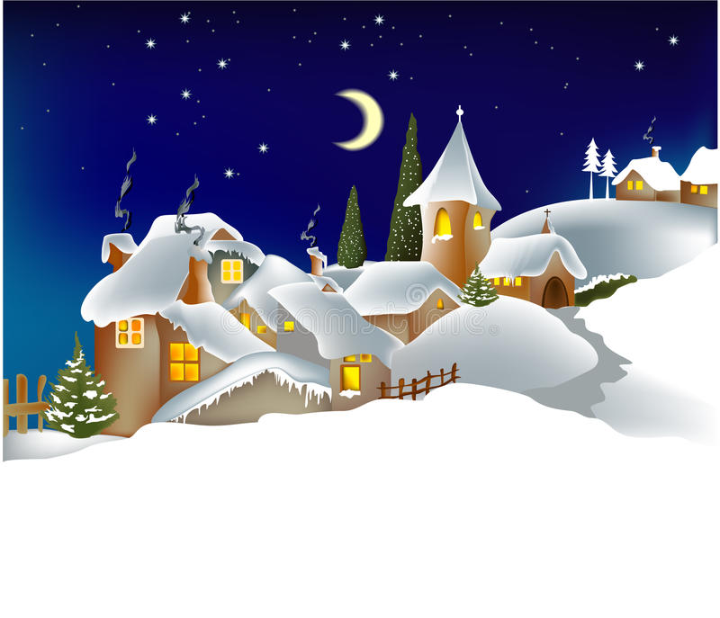 Winter town royalty free illustration