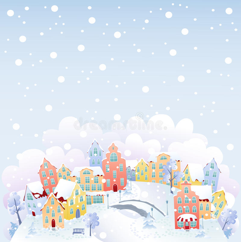 Download Winter town stock vector. Illustration of park, earth - 26431554