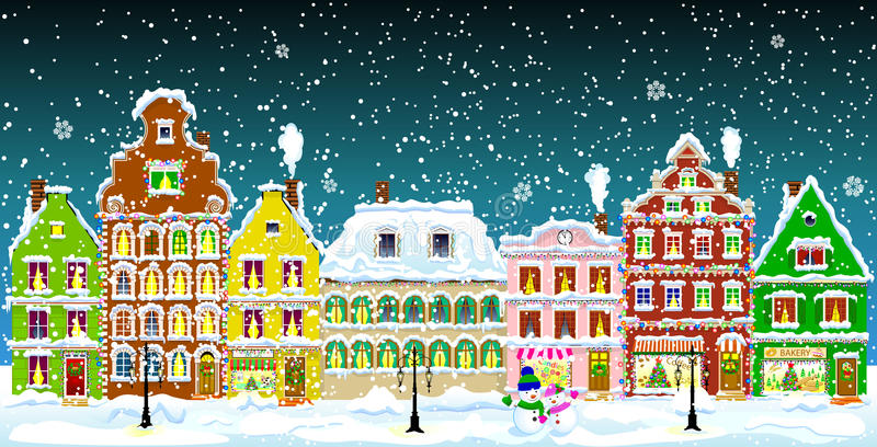 Download Winter town stock vector. Illustration of architecture - 81471946
