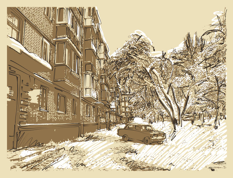 Winter town landscape. Hand draw winter town landscape vector illustration