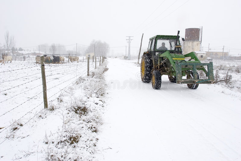 Download Winter tractor stock image. Image of weather, marks, weel - 7488043
