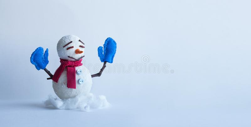 Winter traditional snowman character with scarf mittens. Xmas new year holidays greeting poster template. Copy space.  stock photos