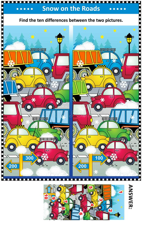 Winter traffic jam find the differences picture puzzle vector illustration