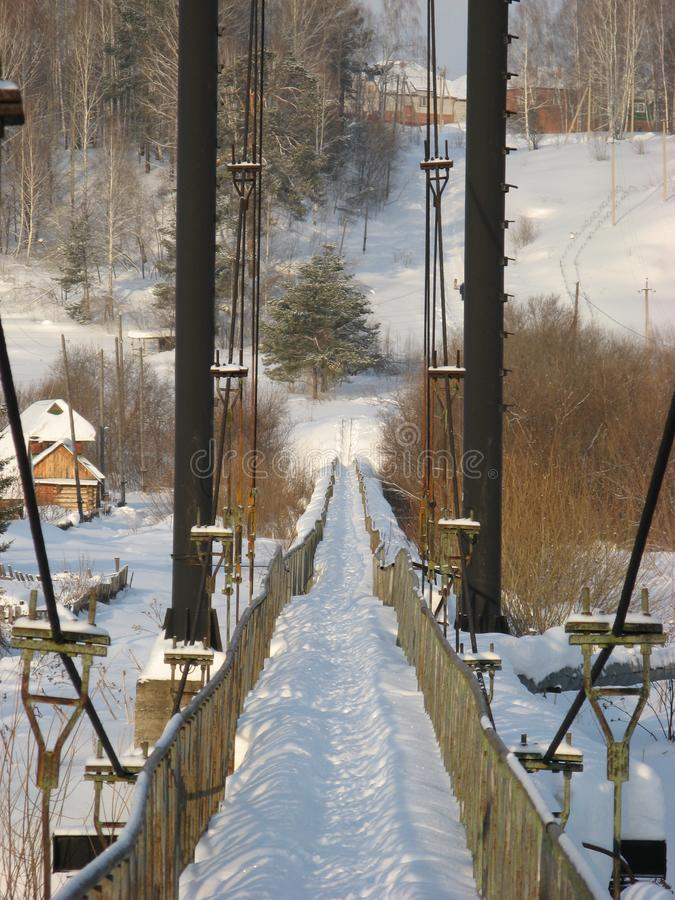 The winter trail in the Siberian forest royalty free stock photo