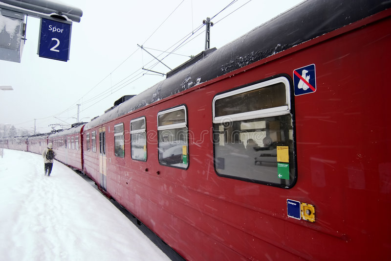 Winter Train Station royalty free stock image