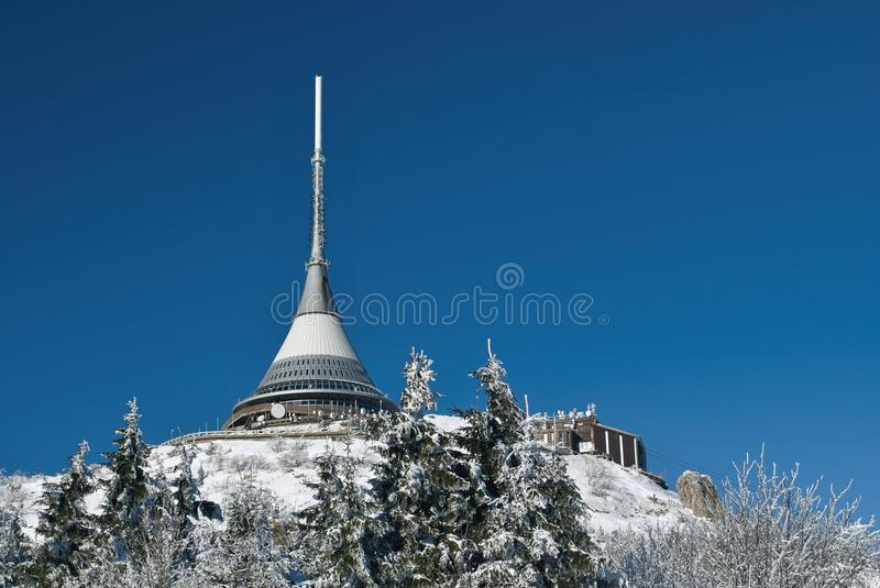 Winter transmission tower stock photography