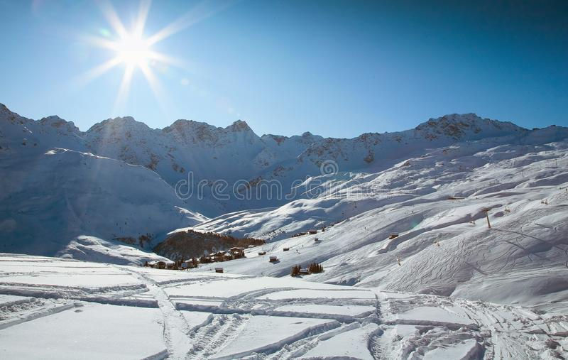 Winter travel in Alps royalty free stock photos