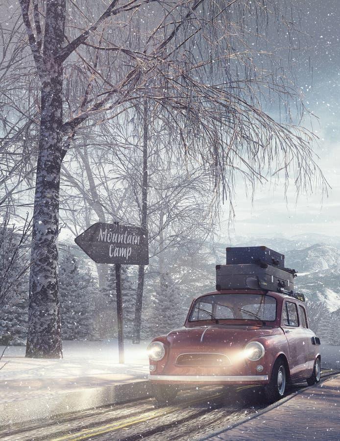 Winter travel holiday background vector illustration