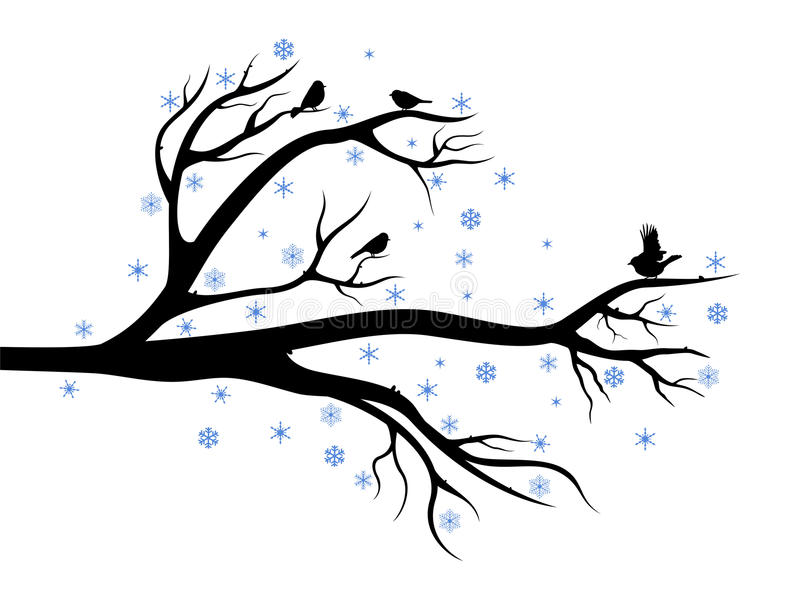 Winter tree with birds. Winter composition with branch of tree and birds on it royalty free illustration