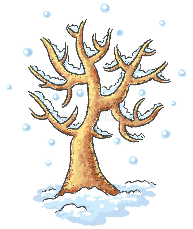 Winter tree drawing stock vector. Illustration of season ...