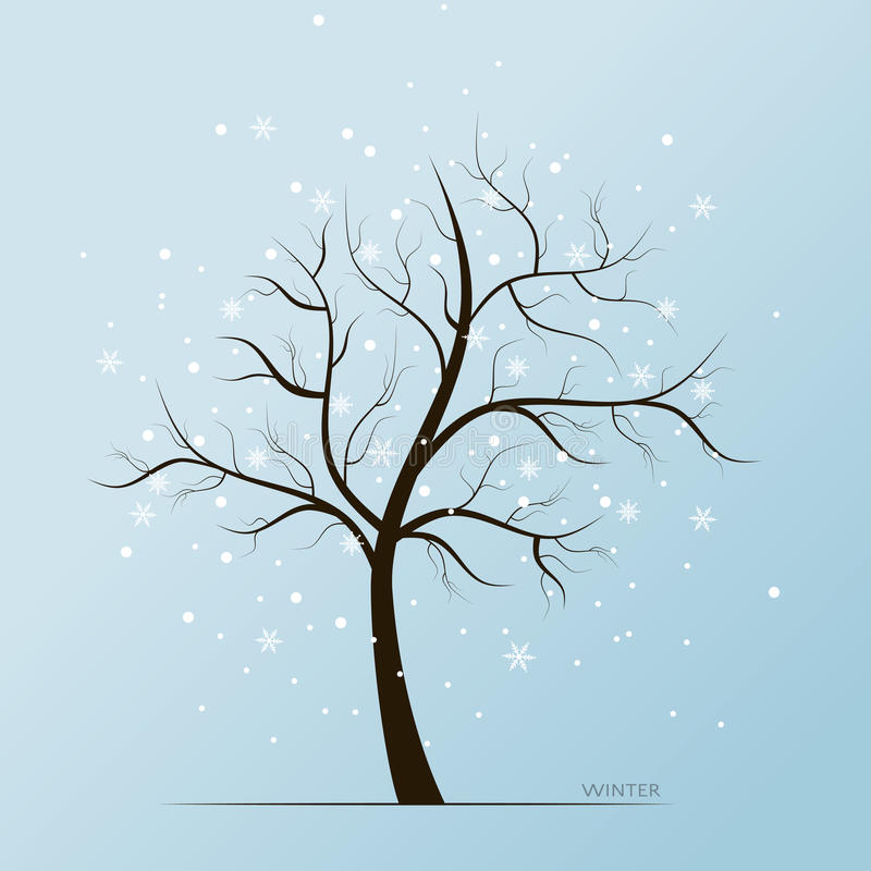 Winter tree and snow flakes vector illustration