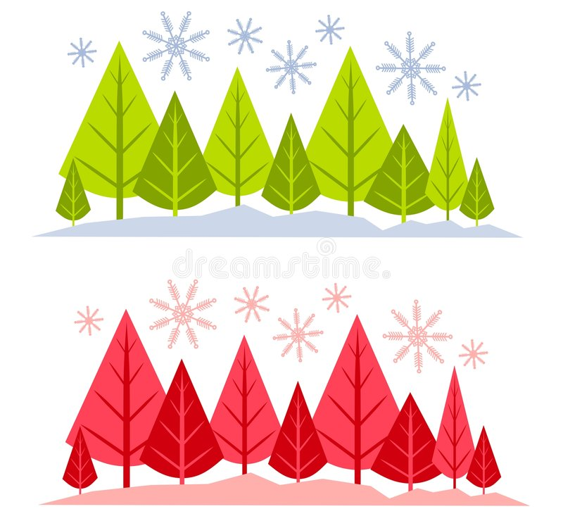 Winter Tree and Snow Scenes. A clip art illustration of your choice of 2 abstract Christmas Tree and snow mini-scenes for use as banners, logos or backgrounds in vector illustration
