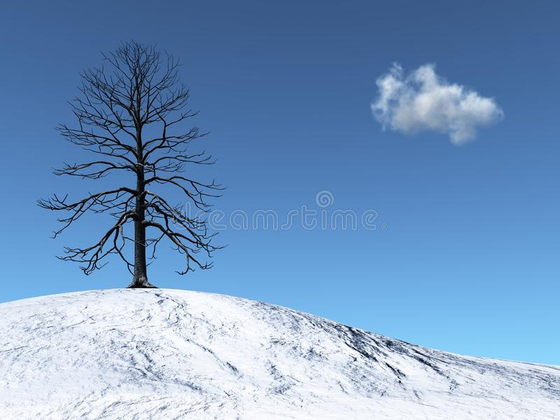 Download Winter Tree On A Snowy Hill Stock Illustration - Illustration of hill, background: 14675192