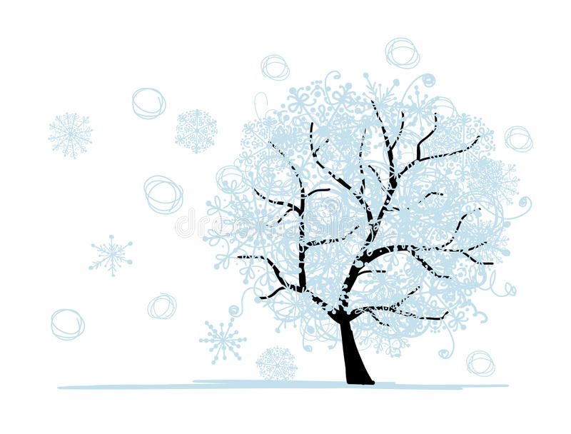 Download Winter Tree For Your Design. Christmas Holiday. Stock Vector - Image: 28932004