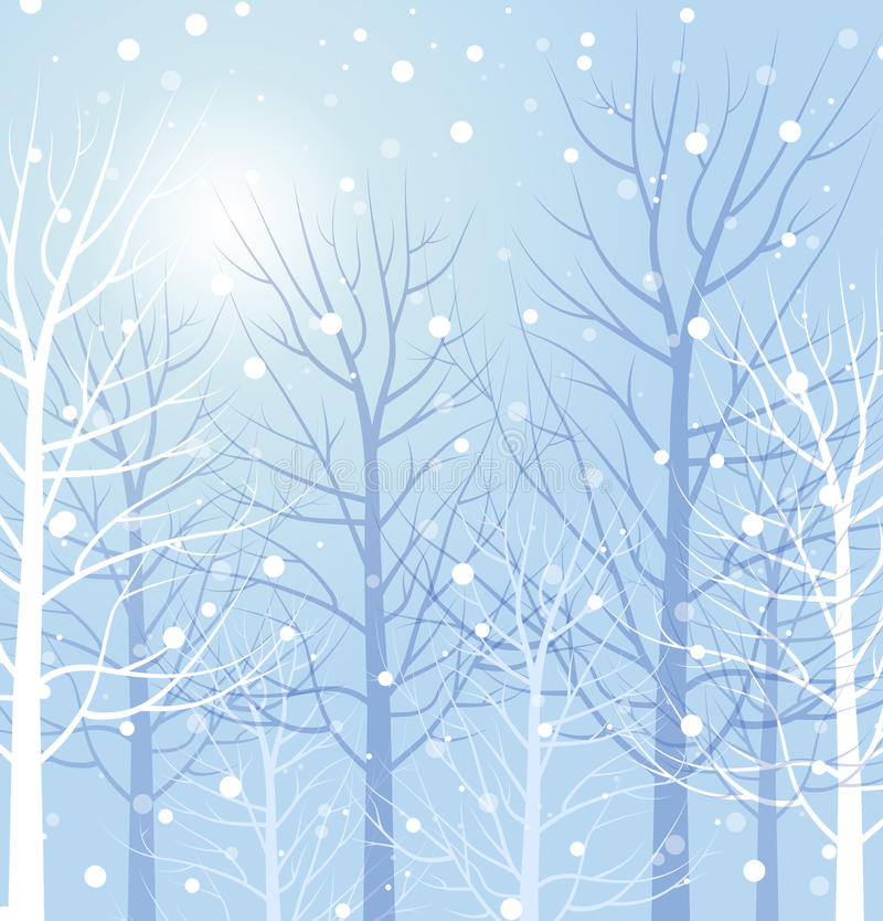 Winter trees. On blue background. Vector illustration stock illustration