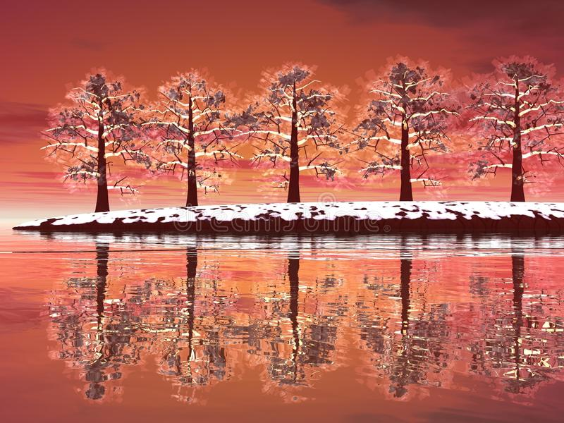 Winter trees by sunset royalty free illustration