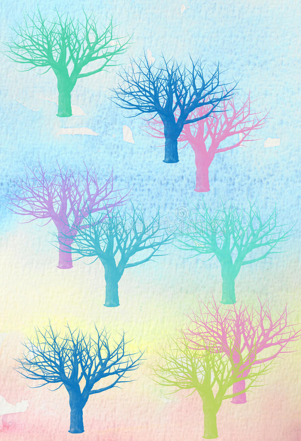 Winter Trees watercolor vector illustration