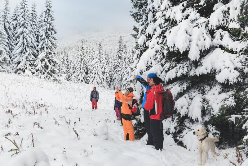 Winter-Trekking in den Karpatenbergen stockfotos
