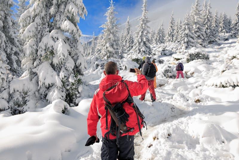 Winter-Trekking in den Karpatenbergen lizenzfreie stockfotografie