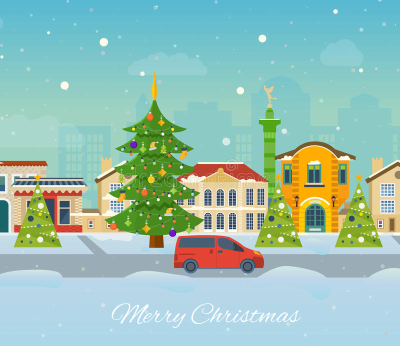 Winter trip to Europe. Festive atmosphere of New Year. Winter travel to Europe. Festive atmosphere of New Year and festive mood, the snow-covered city streets vector illustration