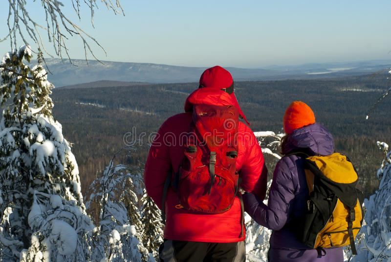 Winter trip through the Ural Mountains stock photography