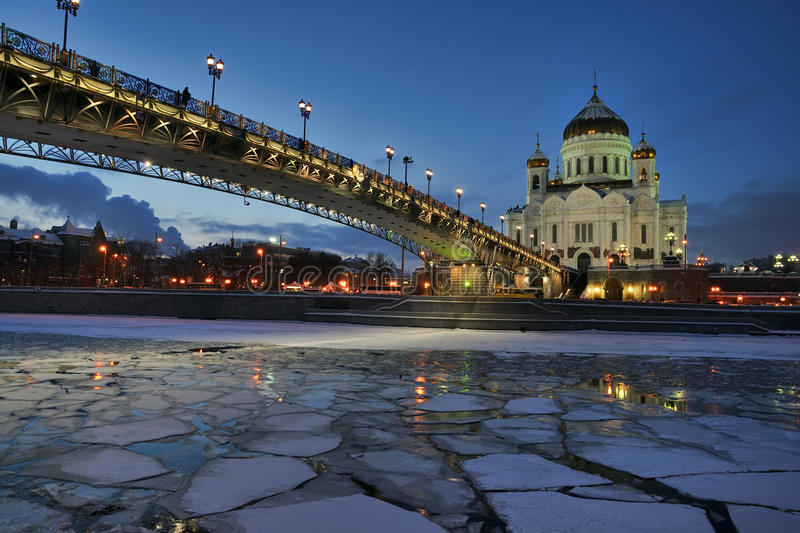 Winter Twilight over Cathedral of Christ the Savior stock image