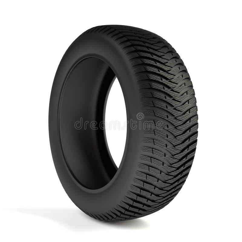 Winter tyre. 3d render of high detaled winter tyre isolated on white background vector illustration