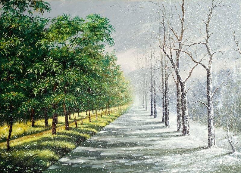 Winter und Sommer lizenzfreie abbildung
