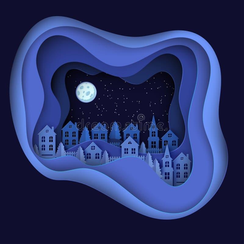 Winter urban countryside landscape, night village royalty free illustration