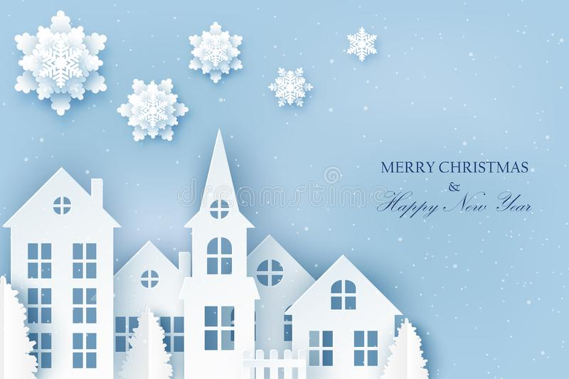Winter urban countryside landscape village with cute paper house. S, pine trees and snowflakes. Merry Christmas and New Year paper art background royalty free illustration
