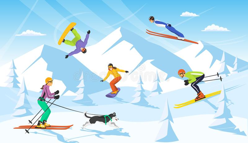 Winter vacaction ski resort scene. man and woman cross country skiing, jumping, snowboarding stock illustration