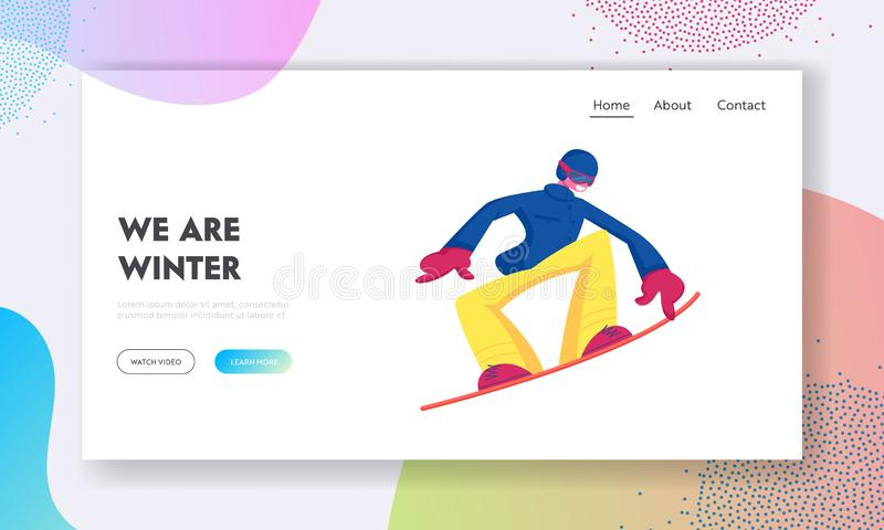 Winter Vacation Extreme Sports Activity Website Landing Page. Sportsman Snowboarding and Making Stunts on Mountain Ski vector illustration