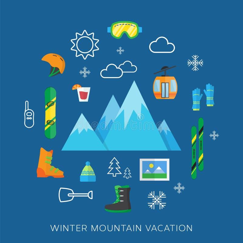 Winter vacation flat vector icon set stock illustration