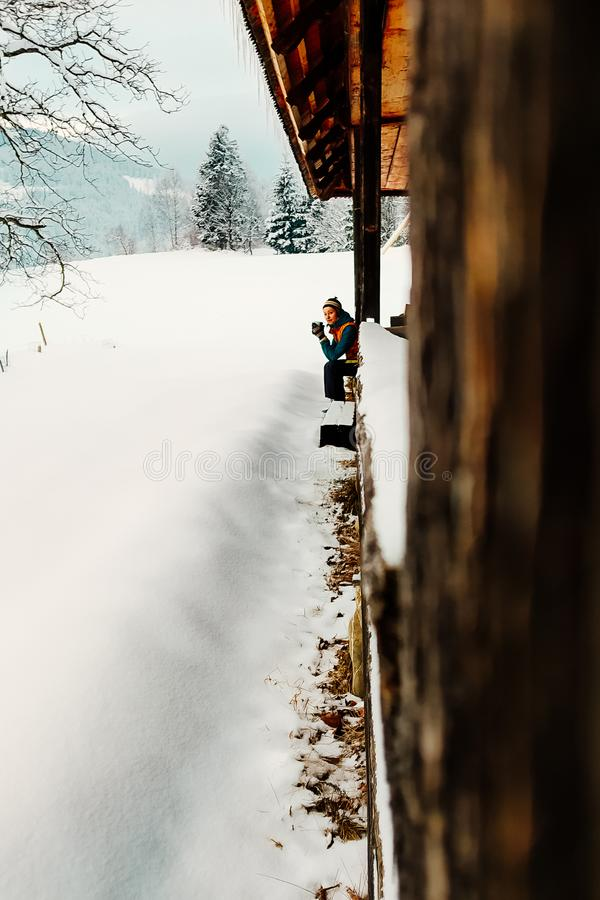Winter vacation holiday outdoor girl holding cup stock photo