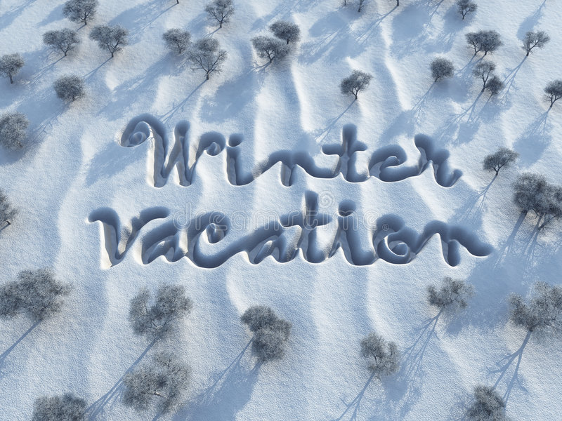 Winter vacation words on snow stock illustration for Vacation in the snow