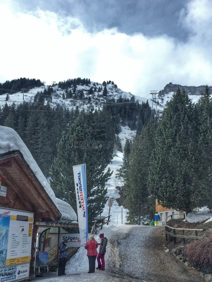 Winter valley resort stock photo