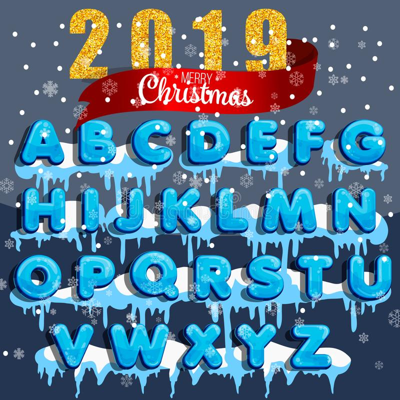 Winter vector alphabet with snow. Letter abc, ice cold font, season frost font, typography or typeset. Winter alphabet vector illu. Winter vector alphabet with vector illustration