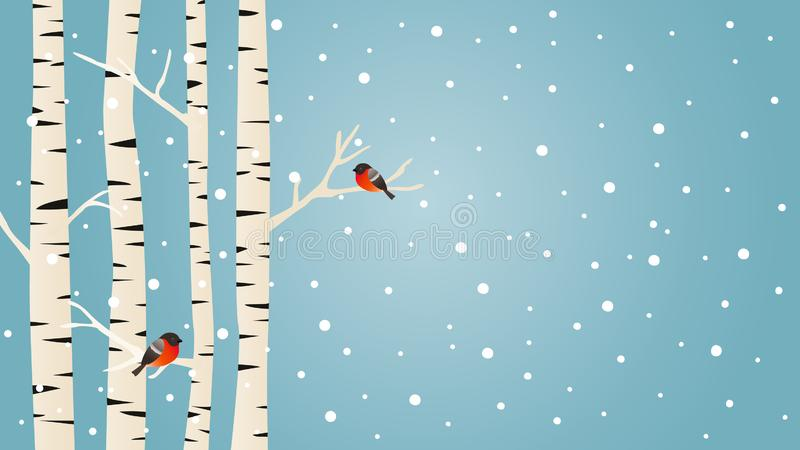 Winter vector background with birch trees and birds stock illustration