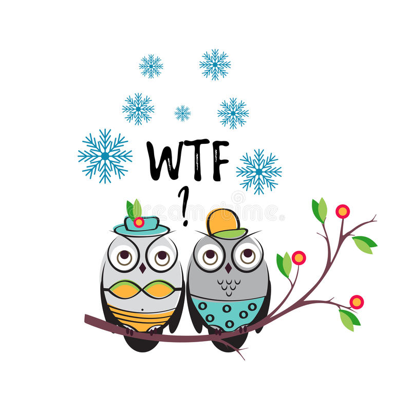 Winter vector couple owls in the swimsuits on a tree branch. An insulated design white background for print t-shirts vector illustration