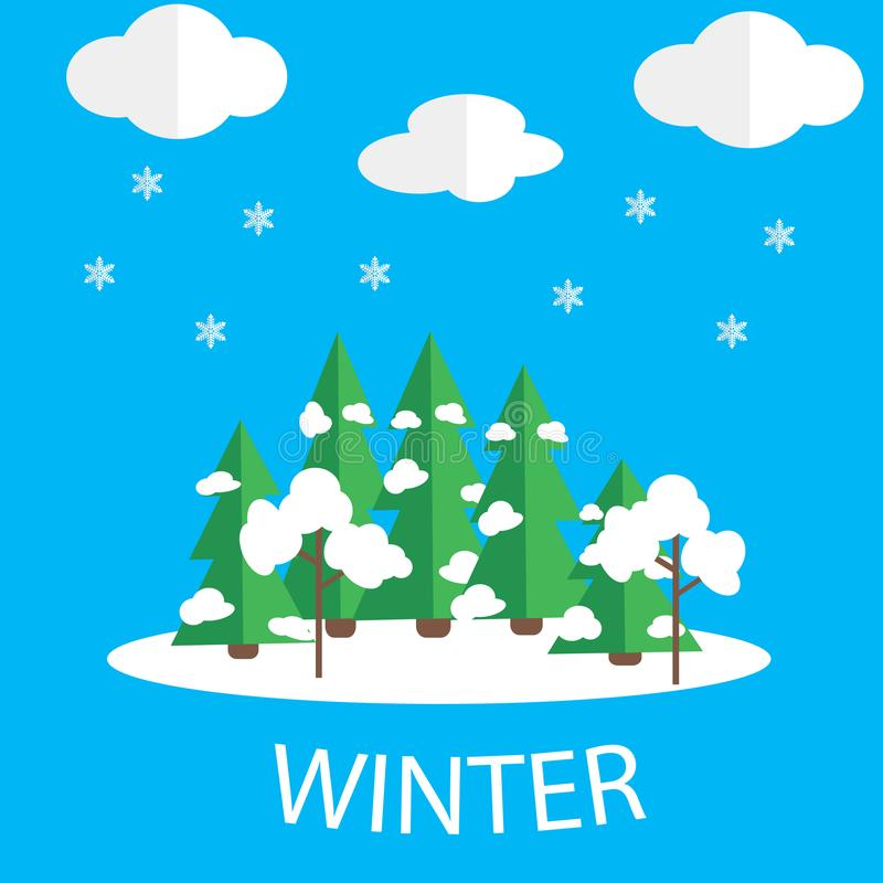 Winter vector picture. Snow weather stock illustration