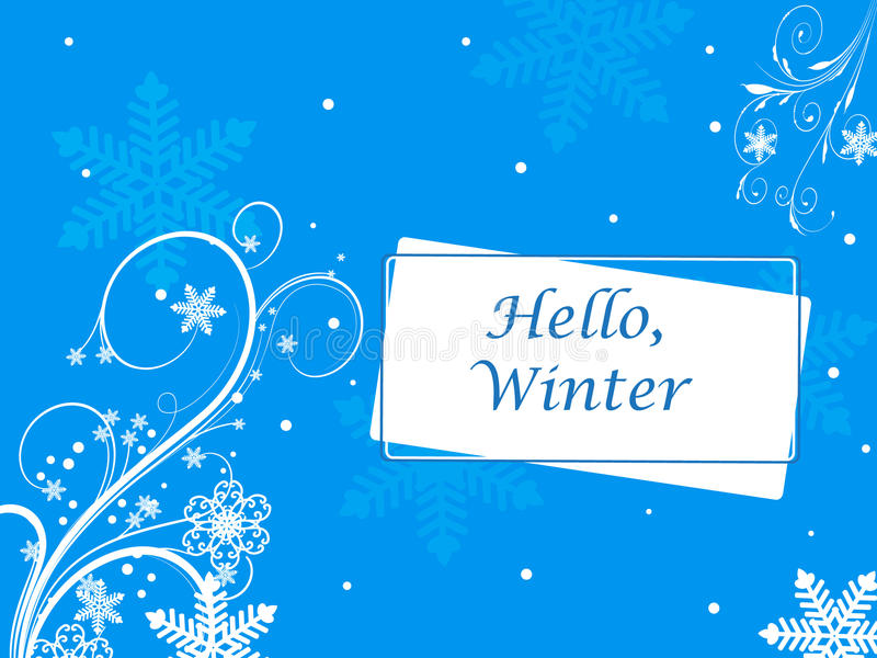Winter vector picture with snowflakes. stock illustration