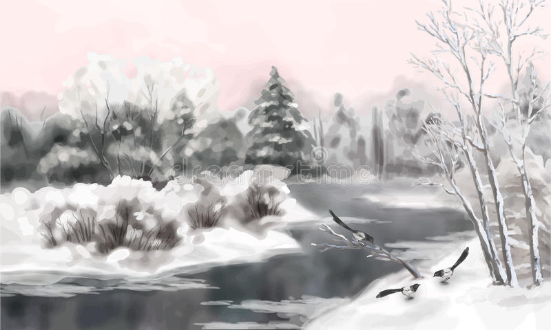 Winter Vector Watercolor Landscape. Vector artistic painting, winter watercolor landscape with birds, snow, river, frozen trees stock illustration