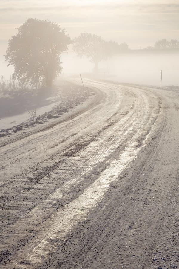 Winter-vereiste Straße lizenzfreies stockfoto