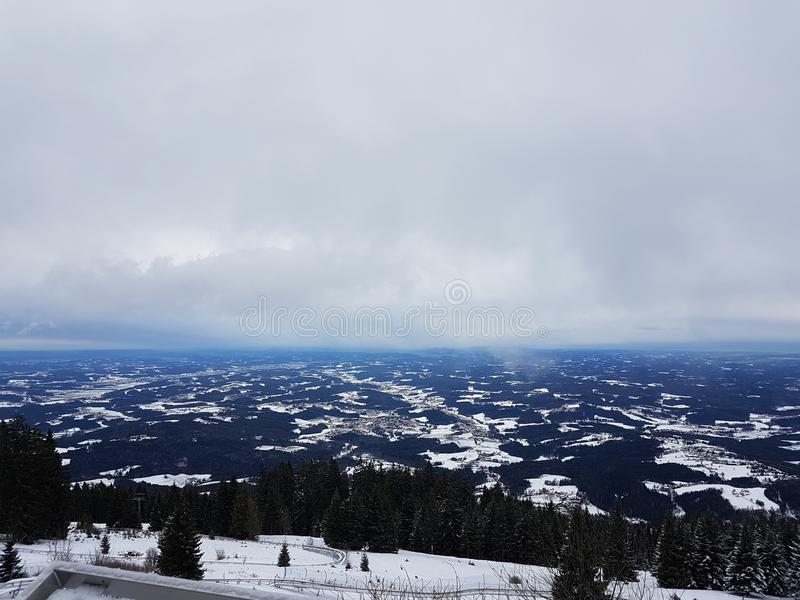 The view from the top of the mountain. Winter view in Austria Weiz royalty free stock photo