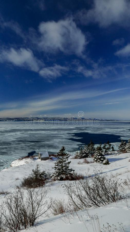 Winter view of the Bay of Gaspe taken from Cap Gaspe. Winter view of the Bay of Gaspe, Quebec, Canada on a sunny winter day taken from Cap Gaspe in Forillon royalty free stock photography