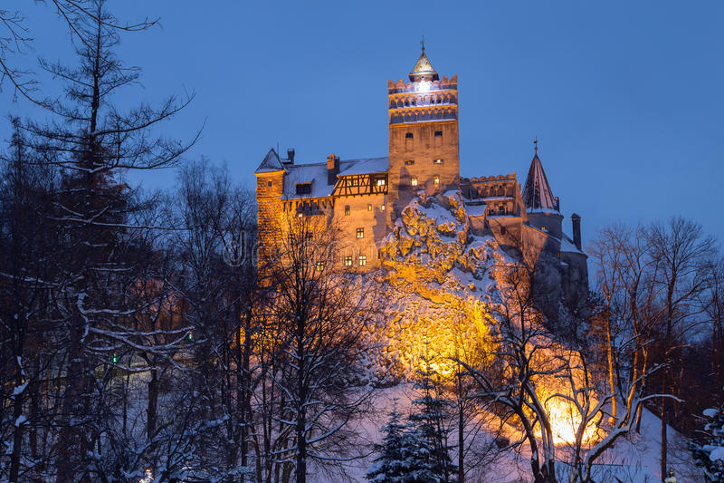 Winter view of Bran castle, stock photo