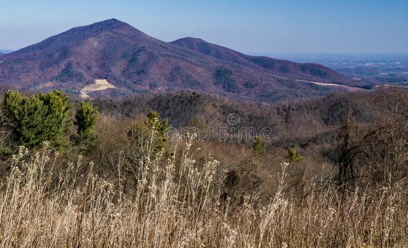 Winter View of Devil's Backbone – Blue Ridge Parkway, Virginia, USA royalty free stock photography