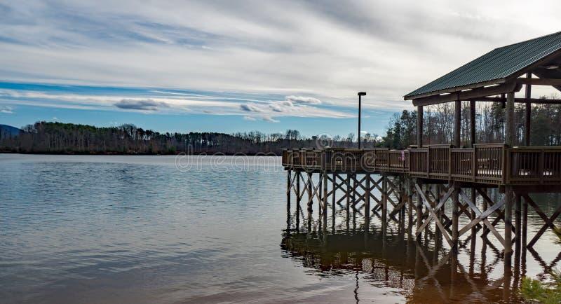 Winter View of a Fishing Pier – Smith Mountain Lake, Virginia, USA. Franklin County, VA – January 9th: Winter view of the fishing pier located at stock images
