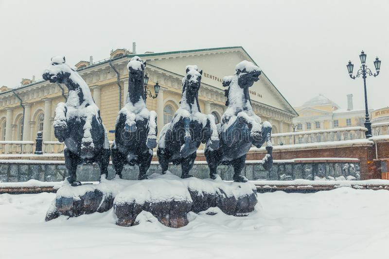 Winter view of the fountain - four horses on Manezhnaya Square in the center stock photography
