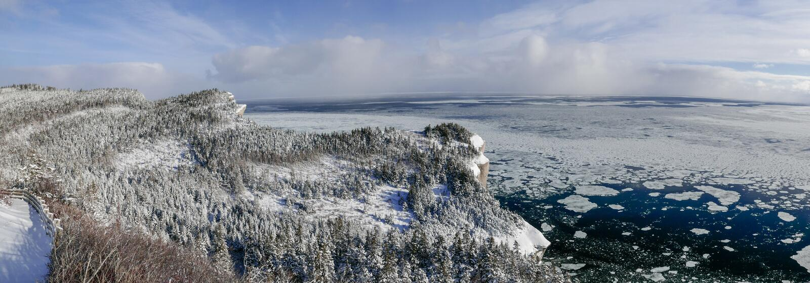 Winter view of the Gulf of St-Lawrence taken from Cap Gaspe. Winter view of the Gulf of St-Lawrence taken from Cap Gaspe in Forillon National Park stock image